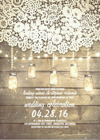 Rustic lace wedding invitation with barnwood, string of lights and mason jars