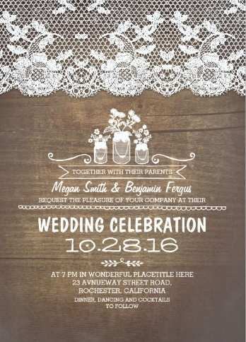 Traditional rustic invite with white lace on wooden background