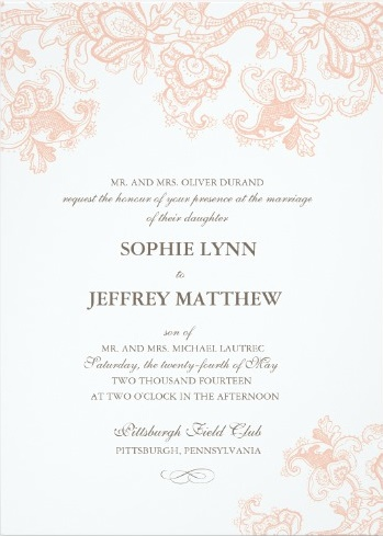 Elegant printed pink lace on white invite