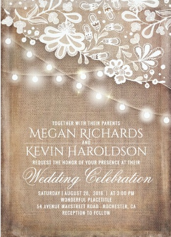 Rustic style printed white lace invitation with a string of lights