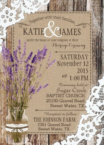 White lace and lavender on barn wood