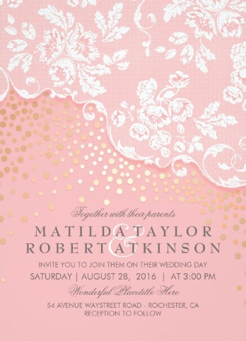 Vintage modern white lace and pink wedding invitation