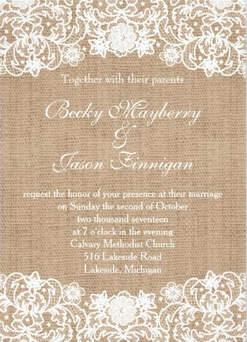 Simple printed burlap and lace wedding invitation