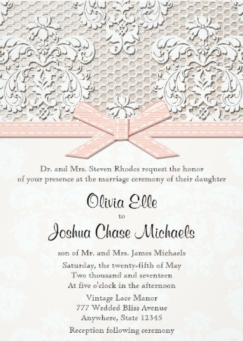 White lace, pale pink ribbon and bow printed invite
