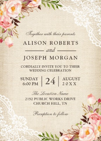 Vintage style invite with peonies and lace