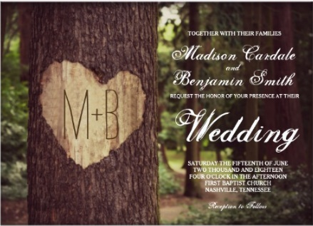 rustic fall wedding with carved heart and trees