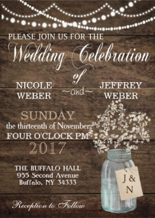 rustic baby's breath wedding invite