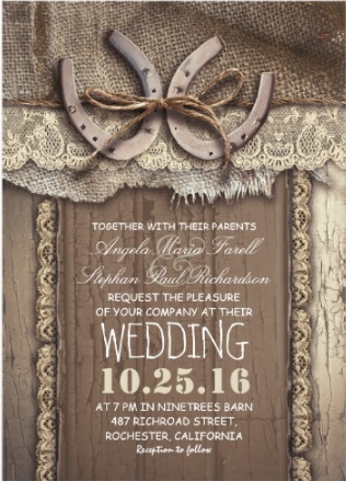 Lace, horseshoes and barn wood wedding invitation