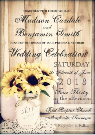 country wedding invitation with sunflowers and mason jar