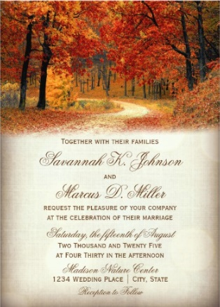 falling rusted leaves autumn wedding invitation