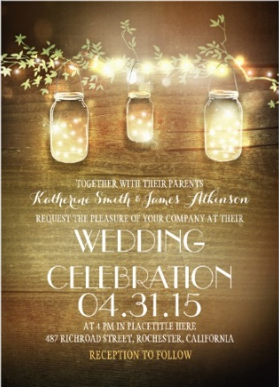 rustic string light mason jar wedding invitation