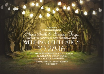 autumn wedding with trees and string lights