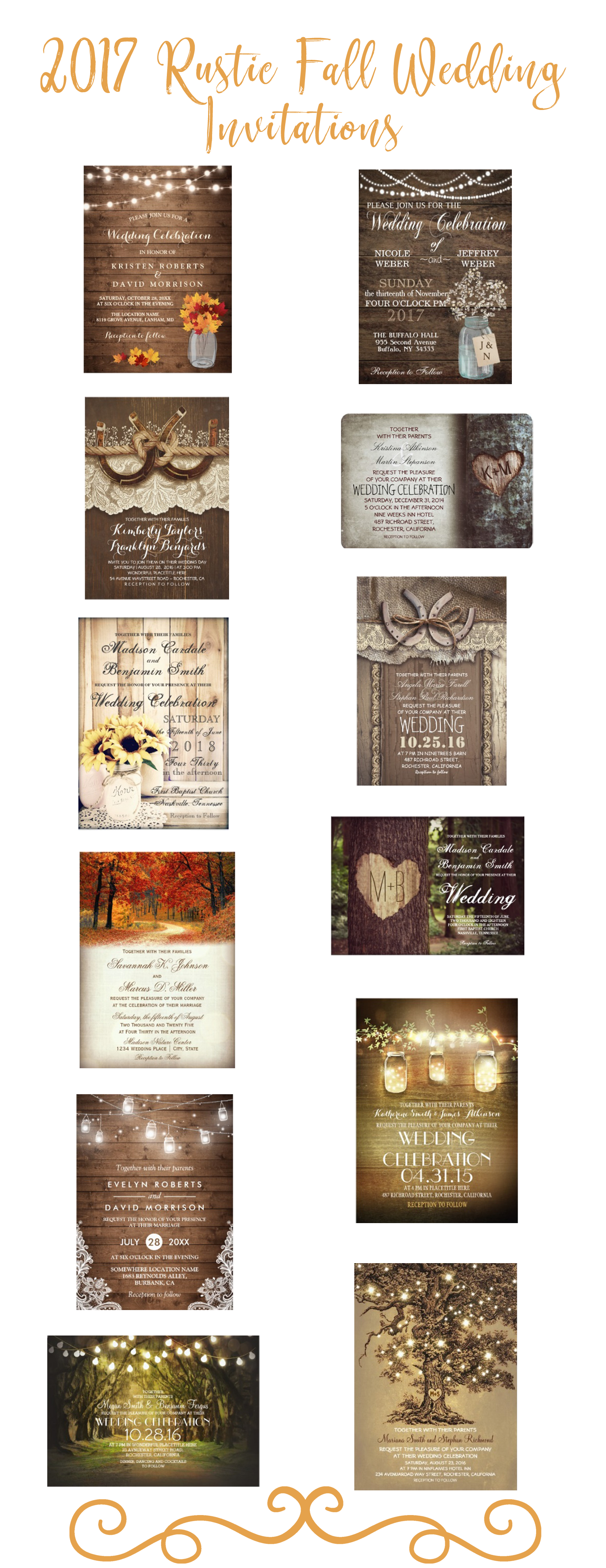 rustic autumn fall 2017 wedding invitations