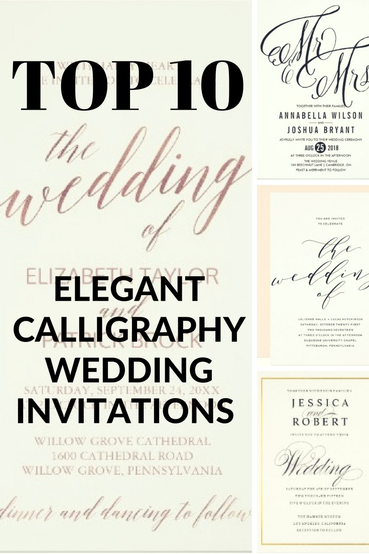 hand lettering elegant calligraphy wedding invitations